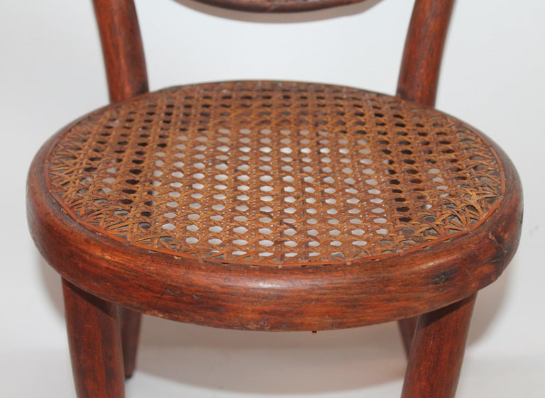 Bentwood Rocker and Chair with Cane Seats, 19th Century For Sale 6
