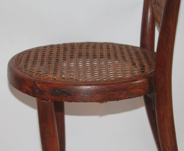 Bentwood Rocker and Chair with Cane Seats, 19th Century For Sale 8