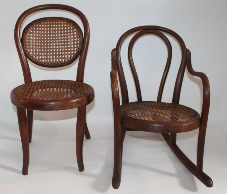 These two bentwood children's chair and bentwood rocking chair are in very good condition. Selling as a pair. All seats and backings are in strong and very good condition.