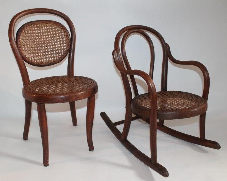 Country Bentwood Rocker and Chair with Cane Seats, 19th Century For Sale