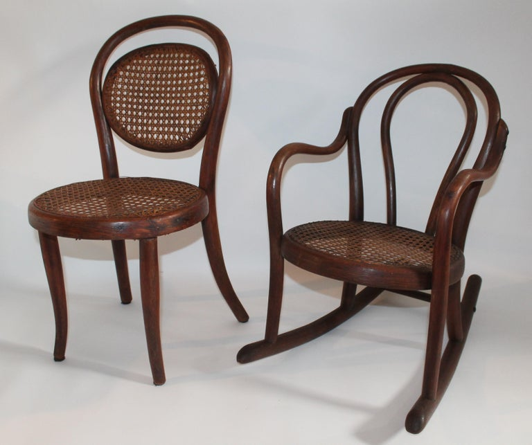 American Bentwood Rocker and Chair with Cane Seats, 19th Century For Sale