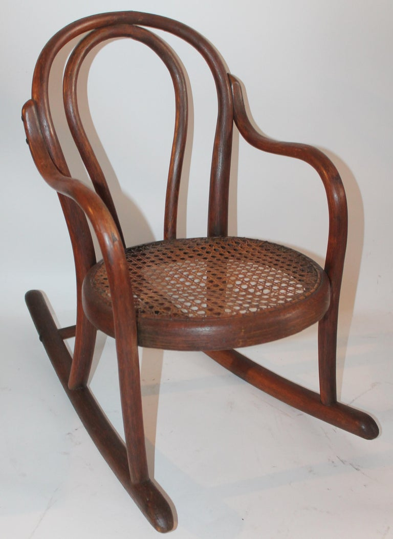 Hand-Crafted Bentwood Rocker and Chair with Cane Seats, 19th Century For Sale