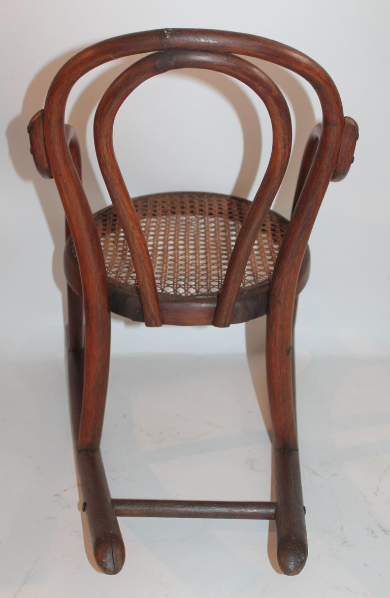 Bentwood Rocker and Chair with Cane Seats, 19th Century For Sale 2