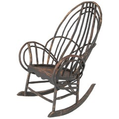 Bentwood Rustic Armchair-Rocker with Plank Seat & Traces of Early Black Paint