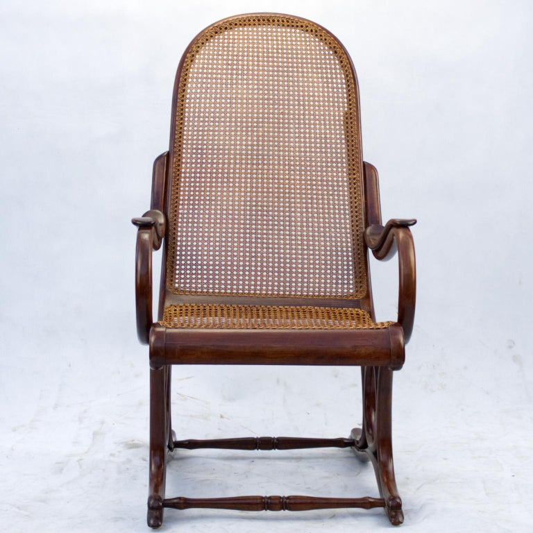 Very rare antique Thonet easy chair no 1 produced by Gebruder Thonet from the late 19th century in a very good condition with new cane on seat, cane on backrest is most likely original, but in 100% condition. Wood parts are in French polish. There