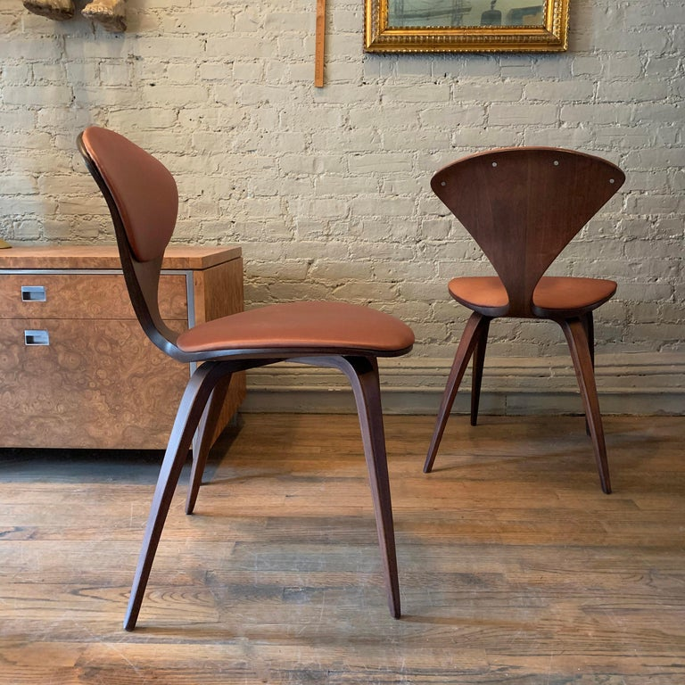 Fabric Bentwood Side Chairs by Norman Cherner for Plycraft For Sale