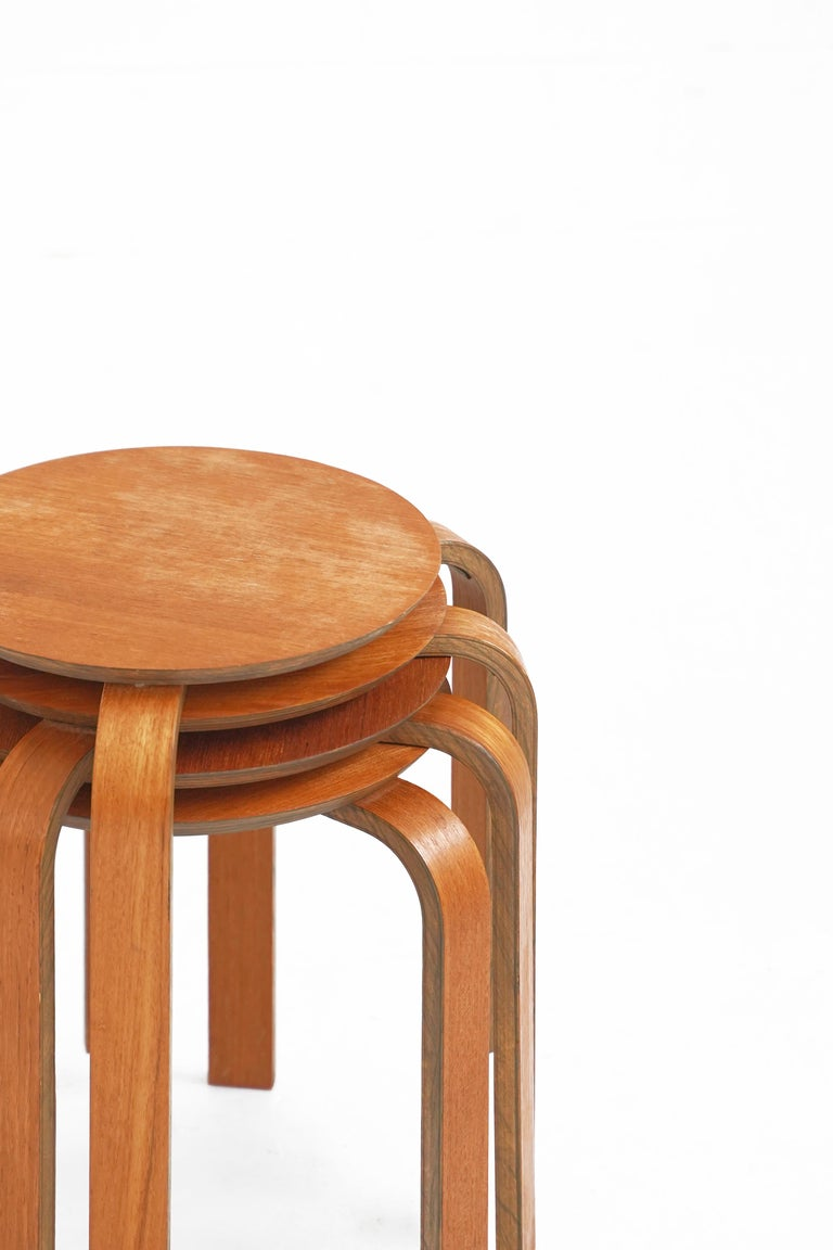 Beautiful set of 4 bentwood stools in the style of Avlar Aalto. In overall great original vintage condition with minor fading. Stools sold individually.