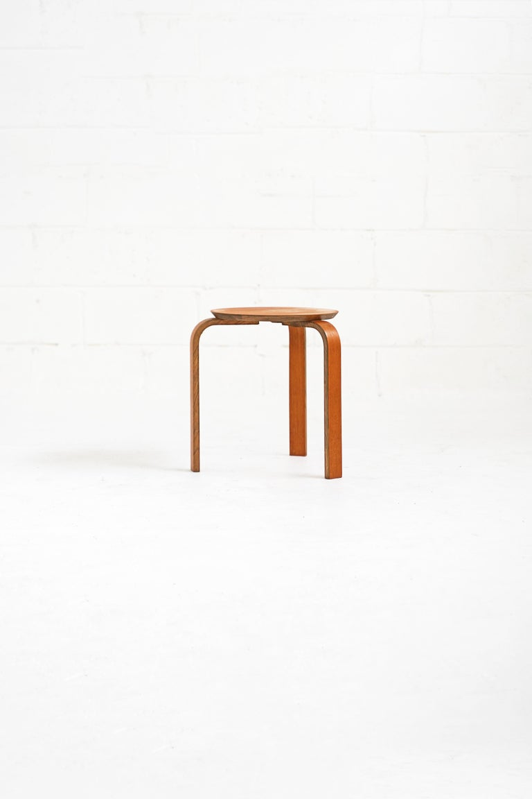 Mid-20th Century Bentwood Stool in the Style of Avlar Aalto for Artek For Sale