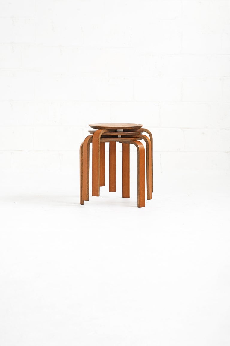 Birch Bentwood Stool in the Style of Avlar Aalto for Artek For Sale