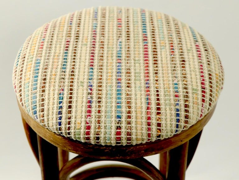 Upholstery Bentwood Stools Attributed to Thonet 3 Available For Sale