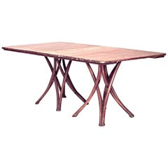 Bentwood Stripped Double Pedestal Base Dining Table