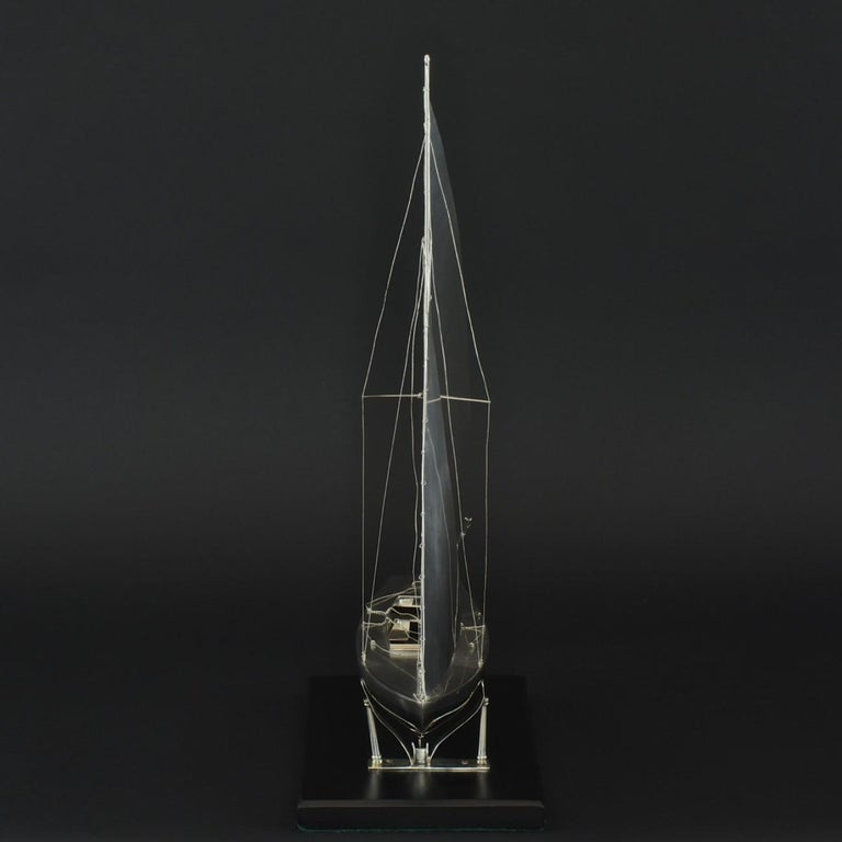British Benzie's Sterling Silver Model Yacht, Hallmarked, 1935 For Sale