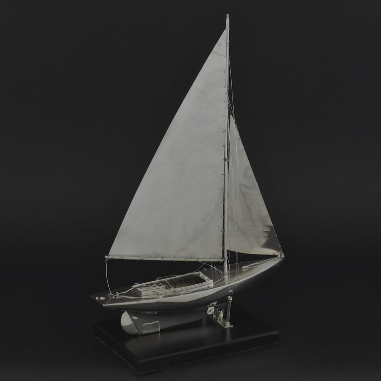 Mid-20th Century Benzie's Sterling Silver Model Yacht, Hallmarked, 1935 For Sale