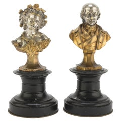 Beranger and Lisette Busts by Anonymous French School, 19th Century