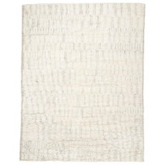 Berber Bohemian Low-Pile Wool Shag Hand knotted Cream Rug
