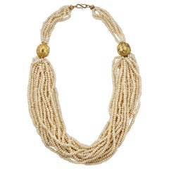 Berber Gold Plated Morrocan Multi Strand Freshwater Pearl Statement Necklace