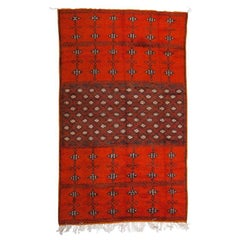 Berber Moroccan Large Coral Wool Rug, Carpet with Abstract Flourishes