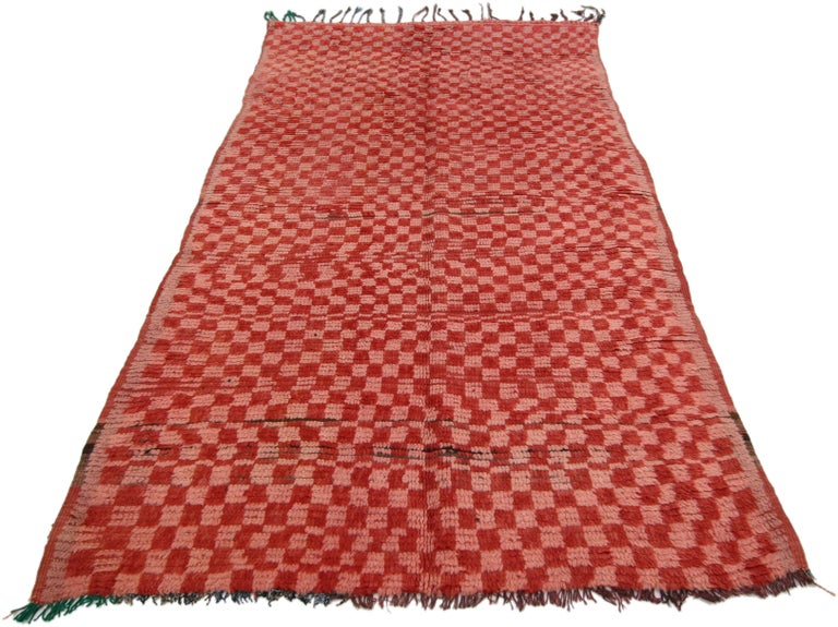 Hand-Knotted Vintage Berber Moroccan Boujad Rug with Checkerboard Post-Modern Style For Sale
