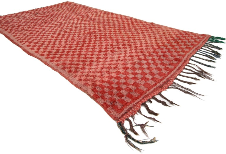 74783 Vintage Berber Moroccan Boujad Rug with Checkerboard Pattern and Post-Modern Style. Vibrant and dynamic, this hand knotted wool vintage Berber Moroccan rug features cubism style and an abstract art design. The vintage Moroccan rug features