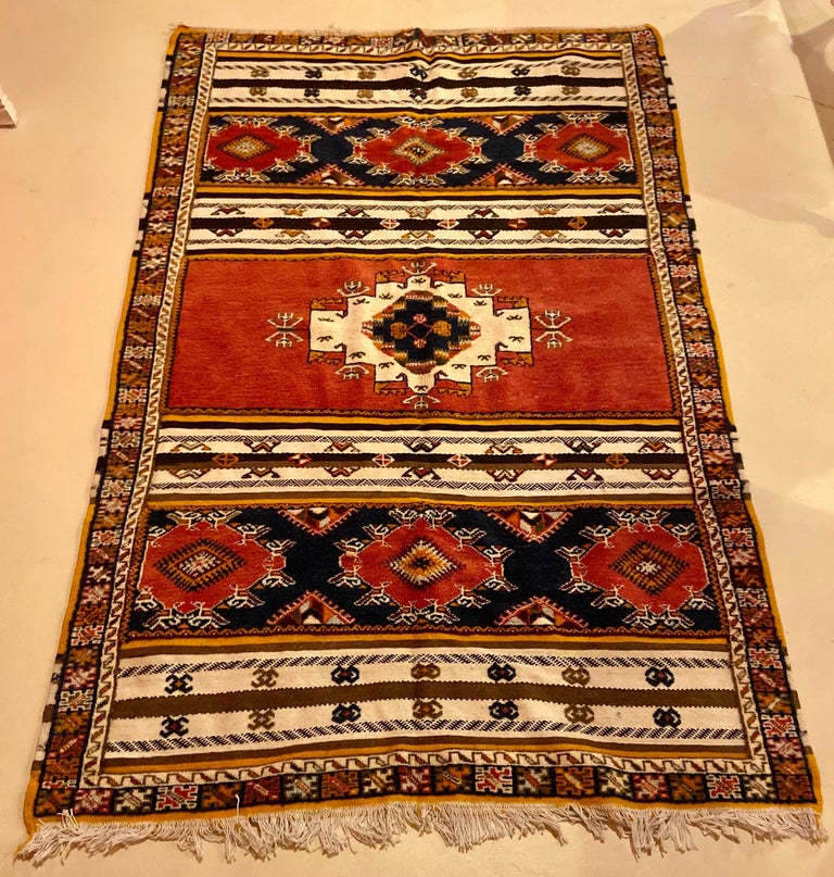 Moroccan Berber large rug/carpet, handwoven wool with regal pattern which would add a stunning and sophisticated addition to your living room, dining room, foyer or bedroom.