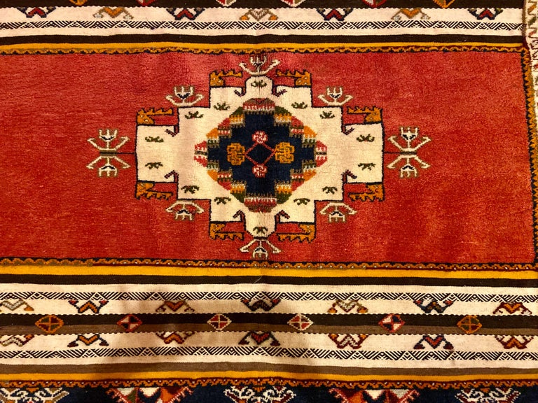 Hand-Woven Berber Rug / Carpet, Handwoven Wool with Regal Pattern, Moroccan For Sale