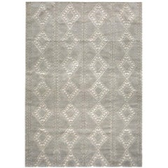 Berber Style Customizable Honeycomb Weave in Cream/Pewter Extra Large