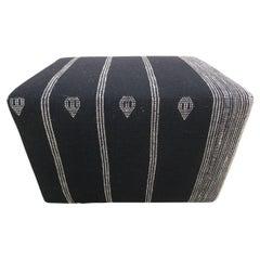 Berber Tribal Wool Accent Ottoman / Black & White