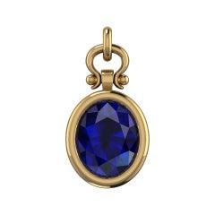 Berberyn Certified 2.54 Carat Oval Cut Blue Sapphire Pendant Necklace in 18k