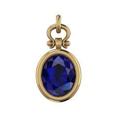 Berberyn Certified 3 Carat Oval Cut Sapphire Necklace Pendant in 18k