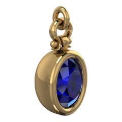 Berberyn Certified 3.27 Carat Oval Cut Blue Sapphire Pendant Necklace in 18k