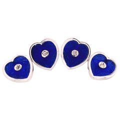 Berca 0.12 Karat White Diamond Blue White Enameled Heart-Shaped Gold Cufflinks