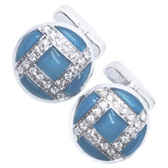 Berca 0.40 Kt White Diamond Hand Inlaid Blue Chalcedony White Gold Cufflinks