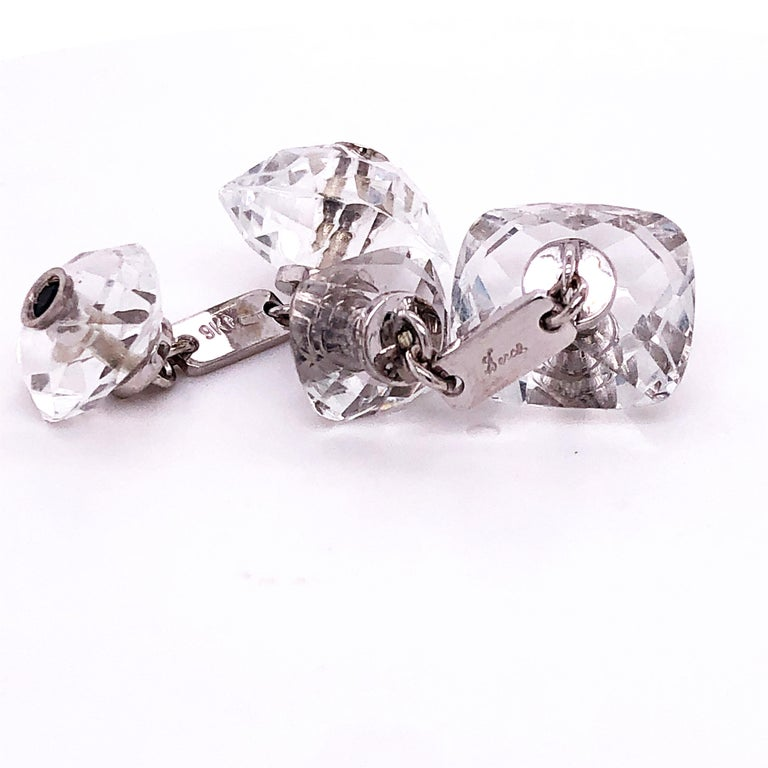 Berca 0.44Kt Sapphire 32Kt Hand Inlaid Rock Crystal White Gold Setting Cufflinks For Sale 6