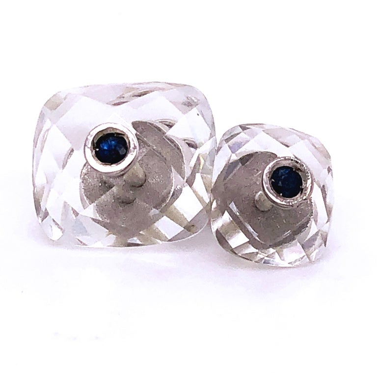 Contemporary Berca 0.44Kt Sapphire 32Kt Hand Inlaid Rock Crystal White Gold Setting Cufflinks For Sale