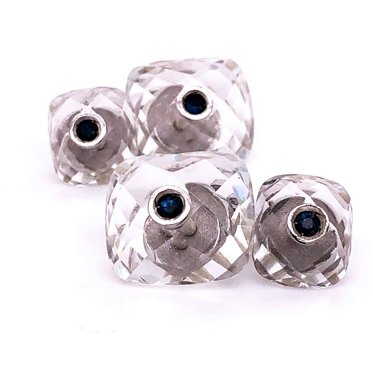 Round Cut Berca 0.44Kt Sapphire 32Kt Hand Inlaid Rock Crystal White Gold Setting Cufflinks For Sale