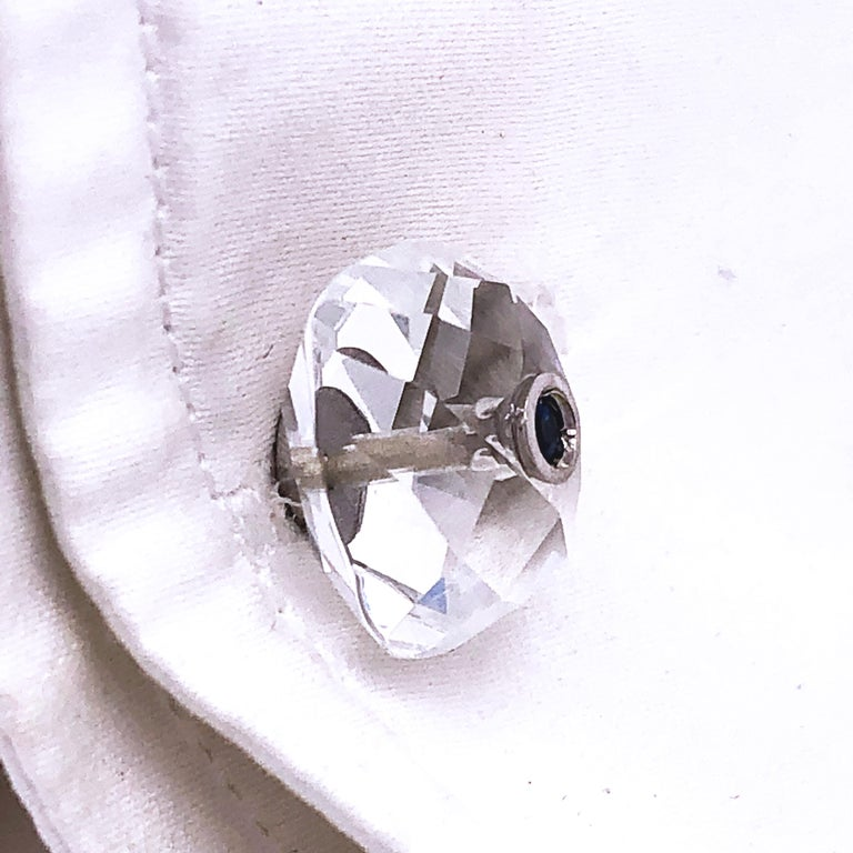 Berca 0.44Kt Sapphire 32Kt Hand Inlaid Rock Crystal White Gold Setting Cufflinks In New Condition For Sale In Valenza, IT