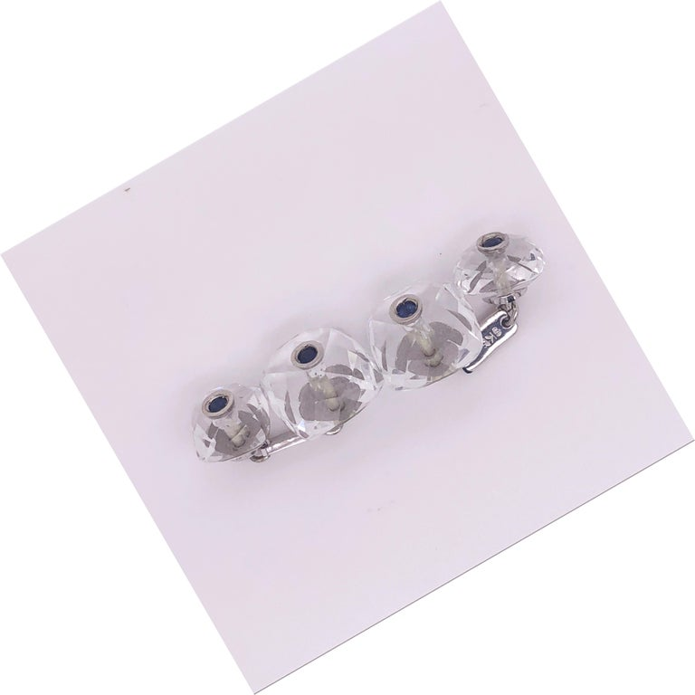 Men's Berca 0.44Kt Sapphire 32Kt Hand Inlaid Rock Crystal White Gold Setting Cufflinks For Sale