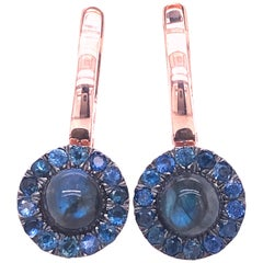 1.05 Karat Sapphire Round Labradorite Cabochon Rose Gold Dangle Earrings