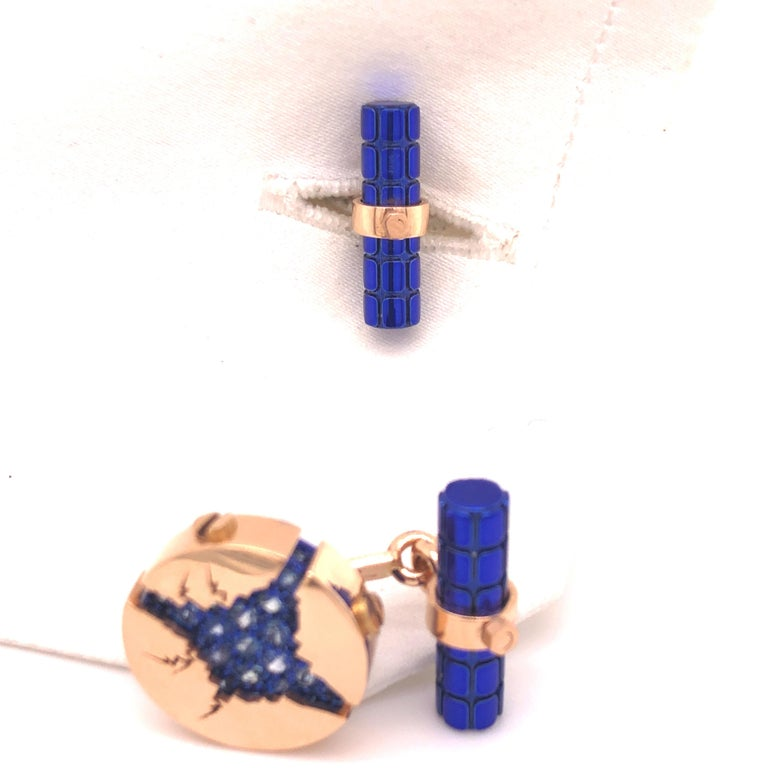 1.25 Carat Natural Blue Sapphire Oxydized Navy Blue Rose Gold Cufflinks For Sale 4