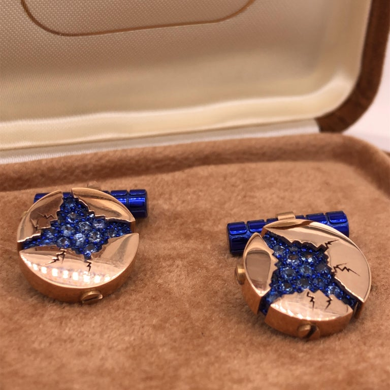 1.25 Carat Natural Blue Sapphire Oxydized Navy Blue Rose Gold Cufflinks For Sale 7