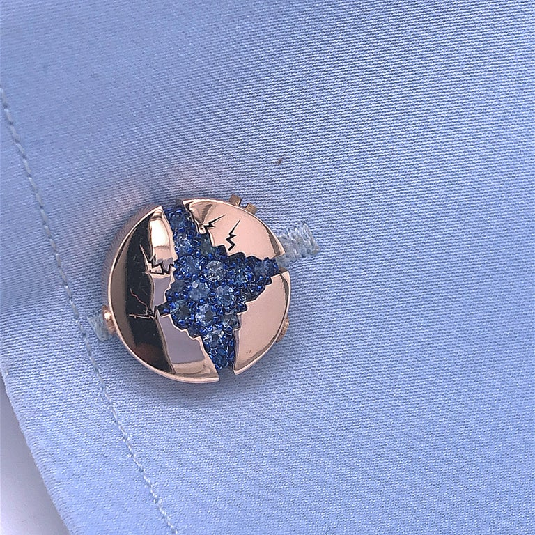 Women's or Men's 1.25 Carat Natural Blue Sapphire Oxydized Navy Blue Rose Gold Cufflinks For Sale