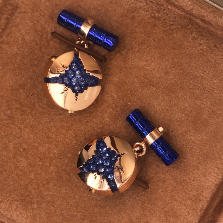 1.25 Carat Natural Blue Sapphire Oxydized Navy Blue Rose Gold Cufflinks For Sale 1
