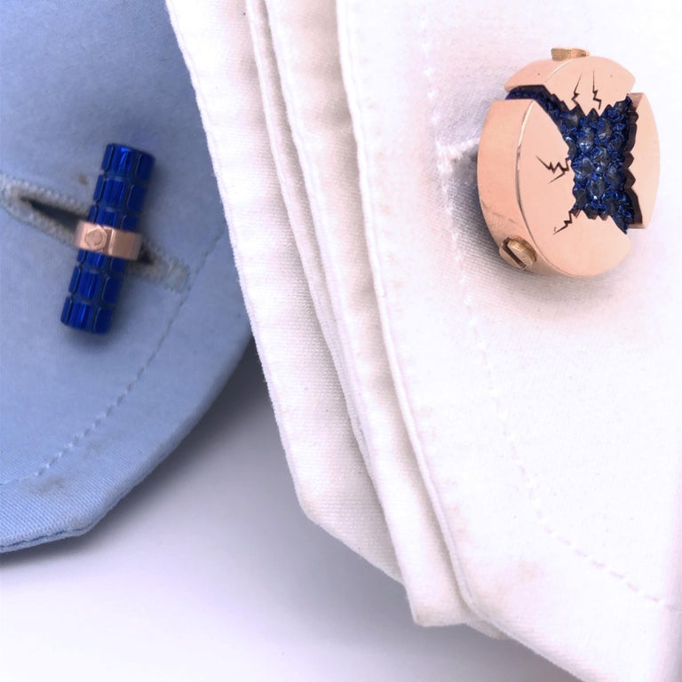 1.25 Carat Natural Blue Sapphire Oxydized Navy Blue Rose Gold Cufflinks For Sale 2