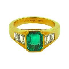 Berca 1.51Kt Muzo Emerald Octagon Cut 1.01Kt White Diamond Emerald Cut Ring
