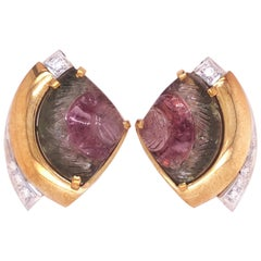 Berca 16.23 Karat Watermelon Tourmaline 0.20kt White Diamond 18kt Gold Earrings