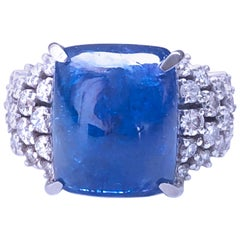 Berca 19.57 Kt Natural Tanzanite Cabochon White Diamond 18 Kt Gold Cocktail Ring