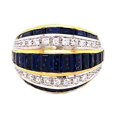 Berca 1980 5.33 Karat Natural Blue Sapphire Baguette White Diamond Cocktail Ring