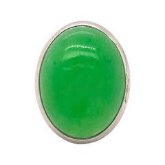 Berca 21.2 Kt Green Jade White Hand Enameled Sterling Silver Cocktail Ring