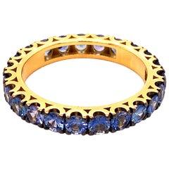 Berca 2.24 Carat Brilliant Cut Natural Blue Sapphire 18K Gold Eternity Band Ring