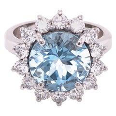 Berca 3.25 Karat Brilliant Cut Brazilian Aquamarine Diamond Cocktail Ring